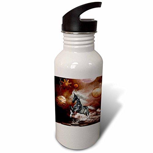 3dRose Heike Köhnen Design Steampunk – Steampunk, steampunk horse on the beach – Flip Straw 21oz Water Bottle (wb_262394_2)