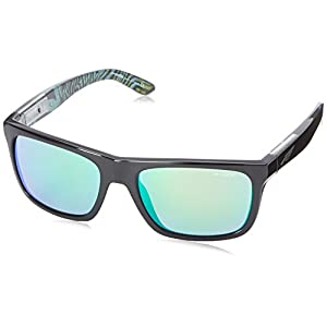 Arnette Dropout Round Sunglasses,Gloss Black with Green Psychedelic inside/Fuzzy Clear/Citrus Chrome,55 mm