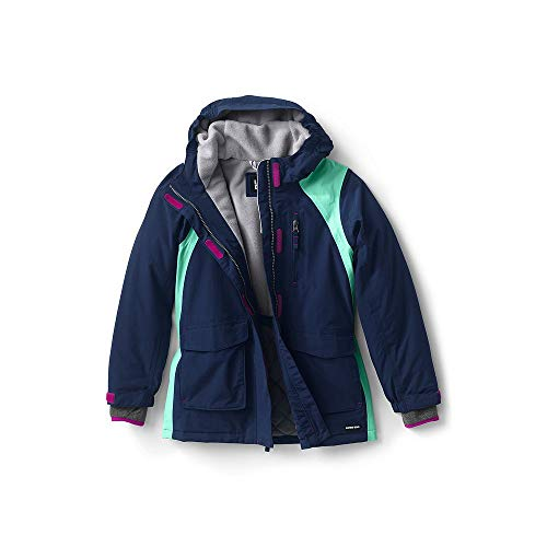 Lands End Kids Fleece - Lands' End Girls Squall Waterproof Winter Parka, L, Midnight Navy