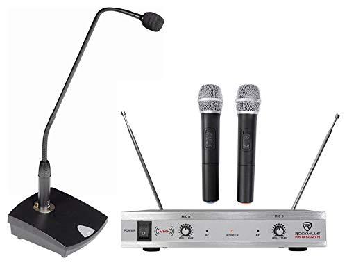Samson CMB1 Podium Microphone w/Weighted Mic Base+Dual Handheld Wireless ()