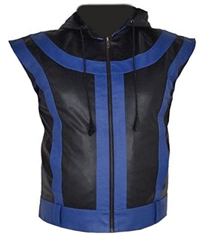 Mens Star Leather Vest (Classyak Men's Big Black and Blue 5 Star Leather Vest 5X-Large Faux Black)