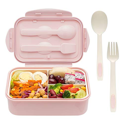 Bento Boxes for Adults - Bento Lunch Box For Kids Childrens With Spoon & Fork - Durable, Leak-Proof for On-the-Go Meal, BPA-Free and Food-Safe Materials (Kids Box Bpafree Lunch For)