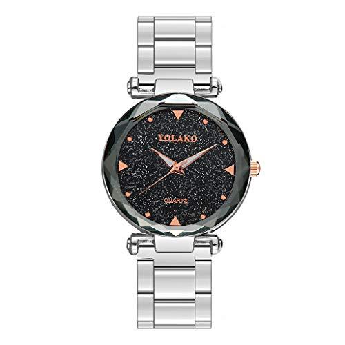 Luxury Starry Sky Fashion Women Watches Bracelet Diamond Quartz Ladies Wrist Watch Magnetic Mesh Band (Silver, Free)