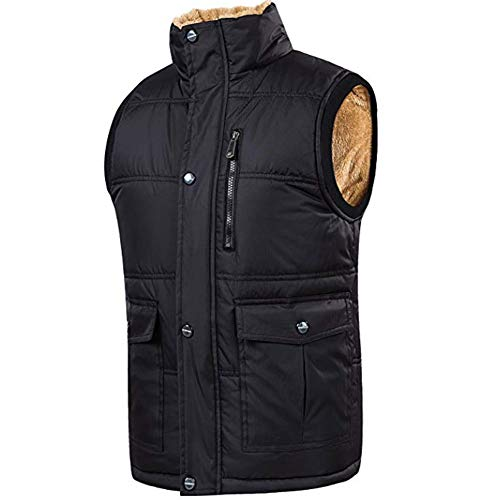 Cashmere Quilted Coat - XinDao Men's Stylish Leisure Padded Vest Cashmere Warm Vest Lightweight Stand Quilted Coat Black US M/Asia 3XL