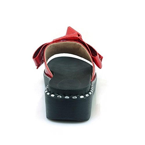 Sandals Mules Fashion Open Red Sole TAOFFEN Thick Toe 1 Women qpZIXnw