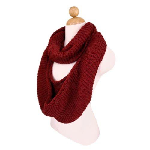 TrendsBlue Premium Winter Knit Warm Infinity Scarf, Burgundy