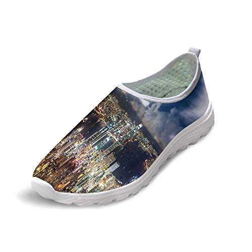 - TecBillion Cityscape Comfortable Running ShoesNight View Hong Kong Victoria Harbor Business Financial District Cityscape Print for Men Boys,US 6.5