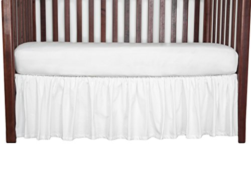 White Cribskirt Crib Dust Ruffle Crib Bed Skirt 15 inches long Gathered