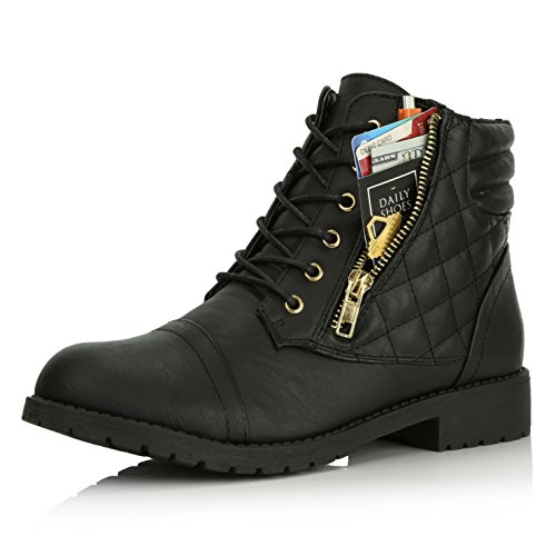 DailyShoes Women's Military Lace Up Buckle Combat Boots Ankle High Exclusive Credit Card Pocket, Black PU, 9.5