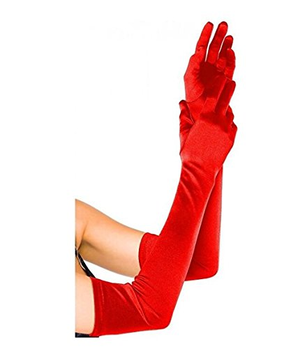 TANGFUTI Women's Wedding Gloves for Bride Fingerless Long Satin Elbow Length Gloves 062