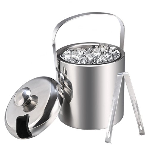 Ferty Ice Bucket, Handle Double Wall Insulated Stainless Steel Small Ice Bucket with Tongs Miniature Bar Set