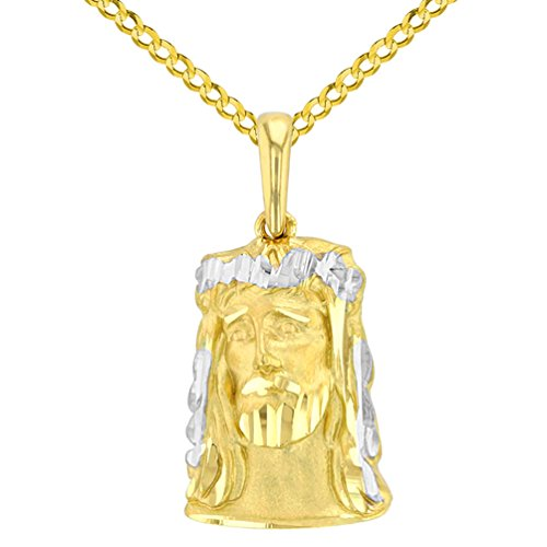 14K Yellow Gold Textured Face of Jesus Christ Pendant with Cuban Chain Necklace, ()