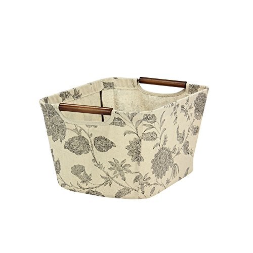 Tapered Storage Basket - Household Essentials Small Tapered Storage Bin with Wood Handles, Floral Pattern