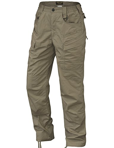 HARD LAND Men's Waterproof Tactical Pants Ripstop Lightweight Work Cargo Pants with Elastic Waist BDU Khaki Size 44W×30L