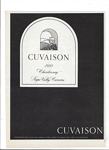 --Magazine PRINT AD-- For 1988 Cuvaison Chardonnay Label Scene --PRINT AD--