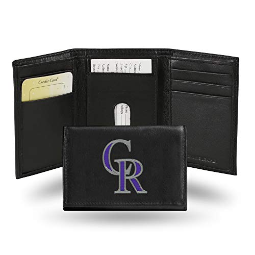 Colorado Rockies MLB Embroidered Team Logo Black Leather Trifold Wallet ()
