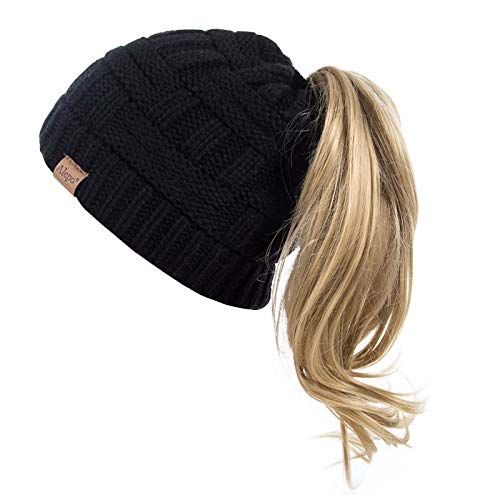 Alepo Womens High Messy Bun Beanie Hat with Ponytail Hole, Winter Warm Trendy Knit Ski Skull Cap (Black)