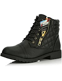 Women's Military Lace up Buckle Combat Boots Ankle High Exclusive Quilted Credit Card Pocket Bootie