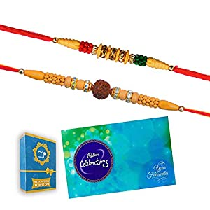 Maalpani Divine Rudrakhsh Rakhi for Bhaiya and Lumba Rakhi for Bhabhi with Clebration Gift Pack – Rakhi Fest