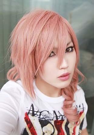 FINAL FANTASY XIII FF13 Lighting Pink COSPLAY Wig + pink wig cap