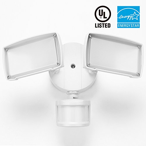 2-Head Motion Activated LED Outdoor Security Light, 20W (150W Equivalent), 3 Modes, ENERGY STAR, 1400Lm, 3000K Warm White, UL-listed Exterior Floodlight for Entryways, Stairs, Yard