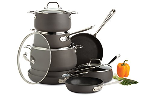 All-Clad Nonstick Cookware Set, Pots and Pans Set, 13 Piece, Hard Anodized, Dishwasher Safe, Black
