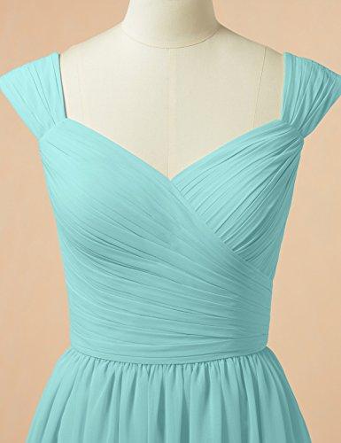 Alicepub Une Ligne Robe De Demoiselle D'honneur En Mousseline De Soie Robe De Soirée Courte Robe De Soirée De Mariage Bleu Aqua