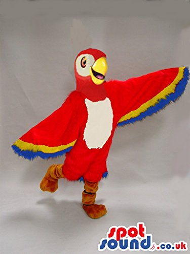 [Red And Blue Parrot Bird Plush SPOTSOUND US Mascot Costume With Big Wings] (Parrot Costume Wings)
