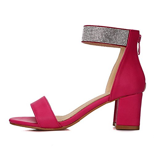 VogueZone009 Women's Kitten-Heels Soft Material Solid Zipper Open Toe Sandals Rosered bTgefXijPR