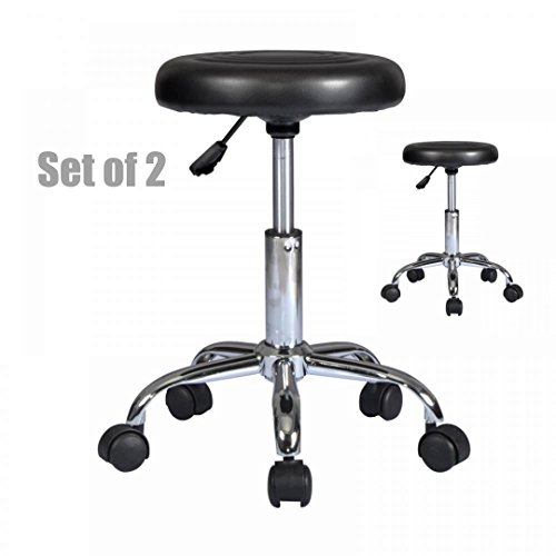Premium PU-leather Hydraulic Adjustable Stool Salon Massage Beauty Spa Dental Sturdy Durable Swivel Rolling Chair - Set of 2 Black - Outlet Shops Okc