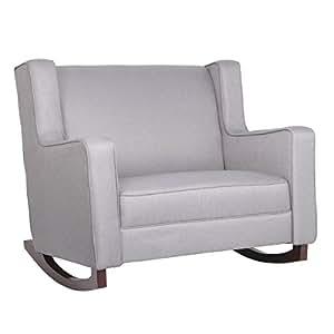Esright Grey Fabric Rocker Morden Rocking Chair Comfortable Relax Glider