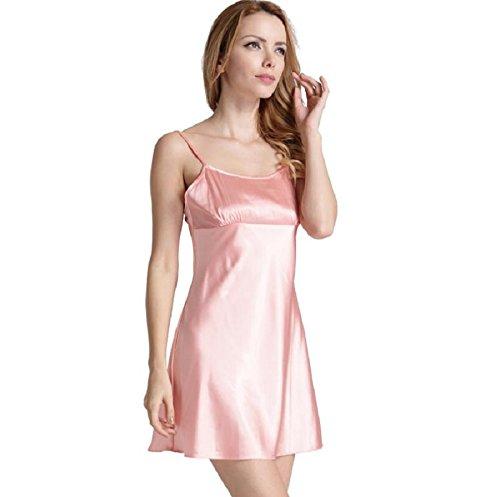 ZC&J La Sra simulación menor descuido suave albornoz chándal informal camisa de dormir vestido de dos piezas,pink,M Pink