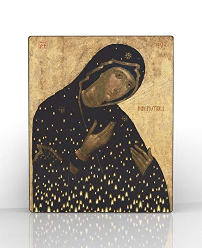 Icon Stand - Artel Russ Theotokos Kiriotissa Сandle Stand Russian Religious Icon Canvas Decor on Wood