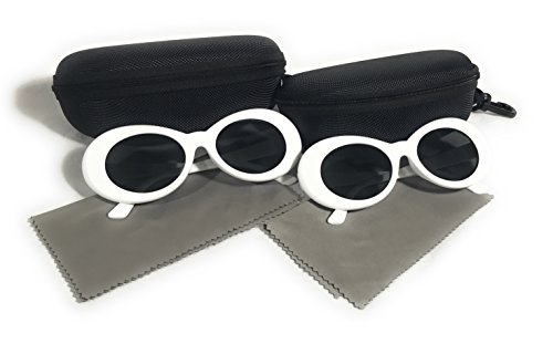 (2 PAIRS) White Clout Goggles Sunglasses Rapper Kurt Cobain Style Oval - Cobain Shades
