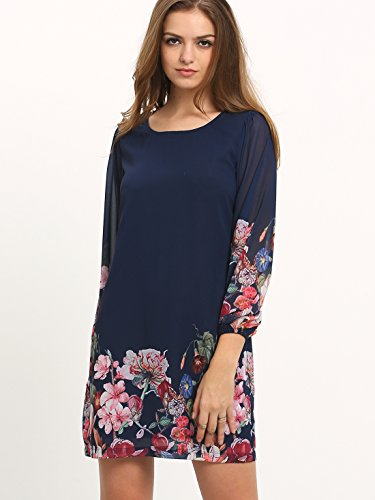 Floerns Women's Chiffon Floral Long Sleeve Shift Dress Navy XXL