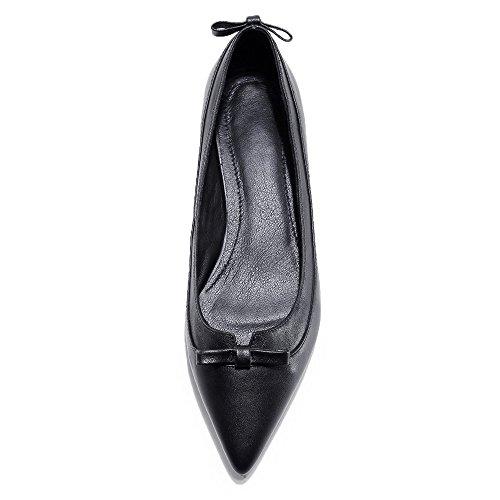 Nine Seven Cuero Moda Puntiagudos Bailarinas Planos con Lazo para Mujer negro