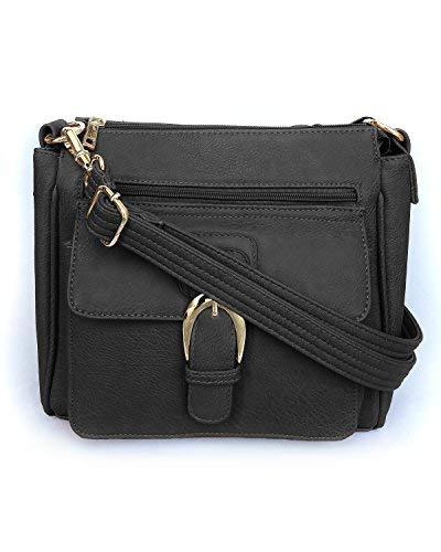 Roma Leathers Front Buckle Concealed Gun Handbag (Black)