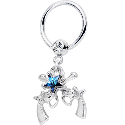 Body Candy Handcrafted Blue Star Guns Dangle BCR Captive Ring Created with Swarovski Crystals 5/8