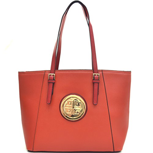 Signature Buckle Tote - Dasein Women's Large Zip Top Multifunction Buckle Tote Bag Shoulder Purse Handbag 3187 Red Orange