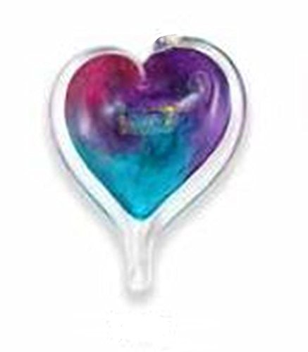 Small Heart by Luke Adams Handblown Glass, Blues, Purples, Pinks and Turquoises (No Hanger) -