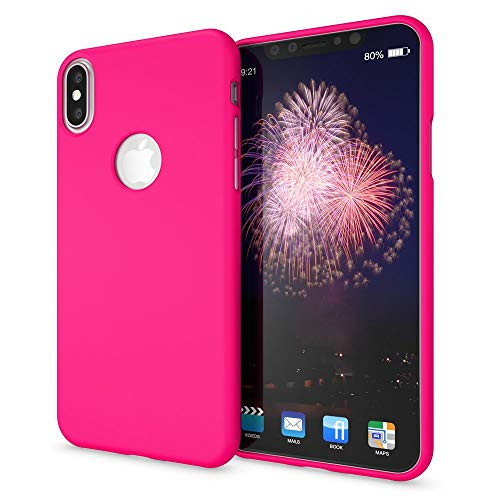 NALIA Case Compatible with iPhone X Xs, Ultra-Thin Phone Cover TPU Neon Silicone Back Protector Rubber Soft Skin, Protective Shockproof Slim Gel Smartphone Bumper Back-Case, Color:Pink