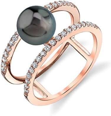 8mm Tahitian South Sea Cultured Pearl Rose Plated Luna Ring