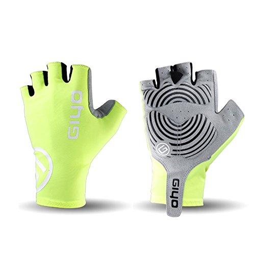 Mrsight Breathable Cycling Gloves Anti Slip Gel Pad Road Bike Short Half Finger Summer Sport Bicycle Mittens Racing Glove (Yellow, XXL)