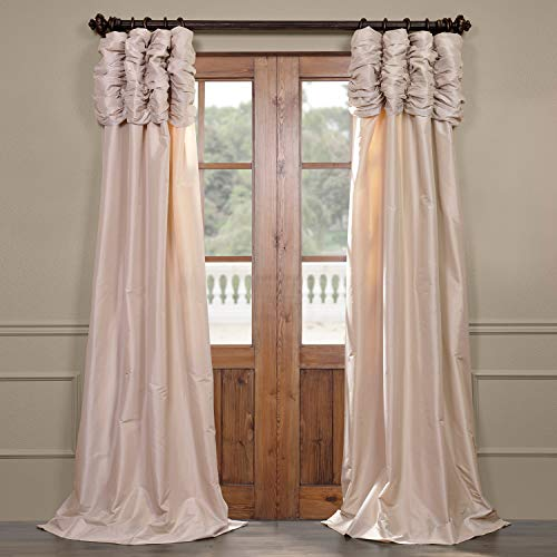 Half Price Drapes PTCH-130907-108-RU Ruched Faux Silk Taffeta Curtain, Antique Beige (Drapes Raw Silk)