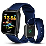 2019 Smart Sport Watch Men Women's IP67 Waterproof Watch Heart Rate Monitor Pedometer Tracker Watches for iOS Android+Box,Dark Blue