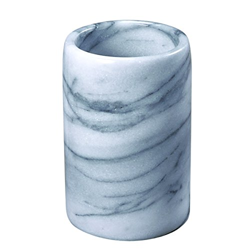 Creative Home Natural Marble Stone Tumbler Toothbrush Holder, 3-1/4