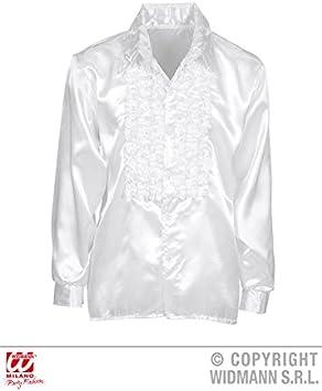 Camisa de volantes raso blanco Disco adulto años 70: Amazon.es: Juguetes y juegos