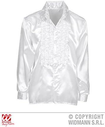 Camisa de volantes raso blanco Disco adulto años 70 : Amazon ...