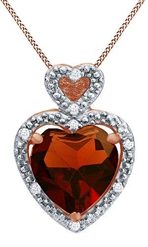 Heart Shaped Garnet & White Natural Diamond Accent Heart Frame Pendant in 10K Rose Gold