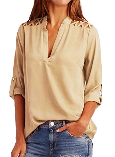 BLENCOT Womens Casual 3/4 Cuffed Sleeve V Neck Cut Out Shoulder Chiffon Blouse Shirt Casual Loose Tops